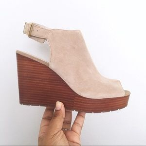 Kenneth Cole Octavia Tan Peep Toe Ankle Wedge